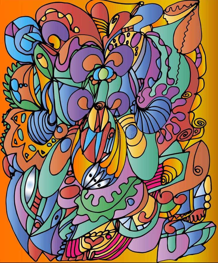 Dra i stilen av att klottra på färgrik orange bakgrund vektor illustrationer
