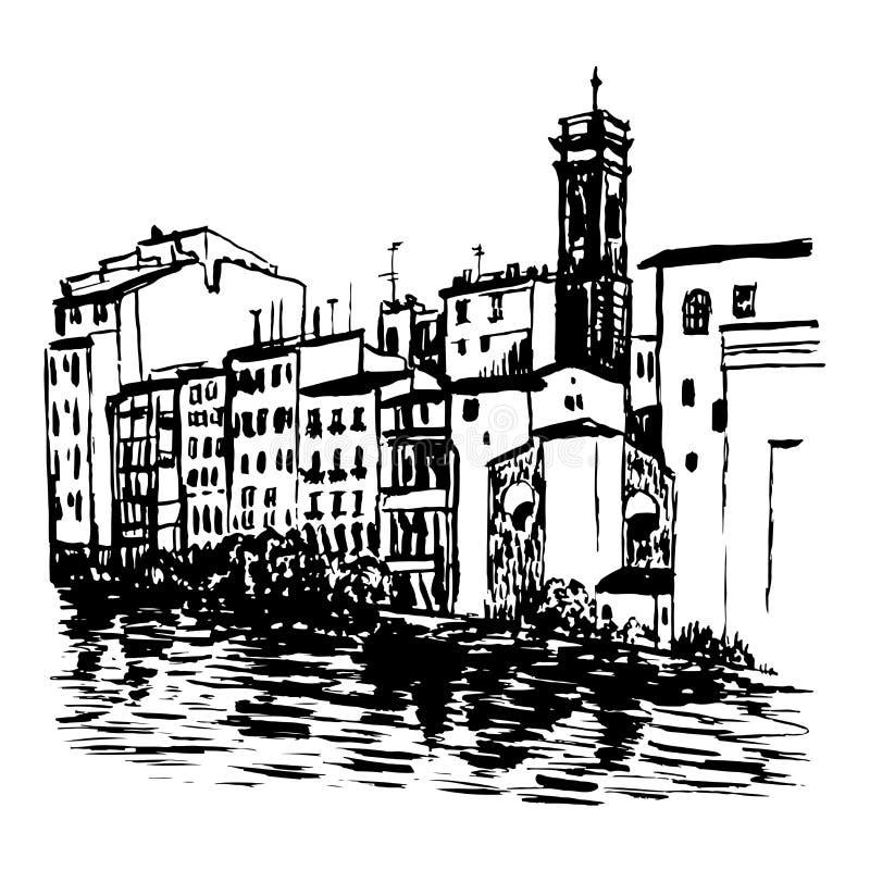 Dra landskapsikt av hus i Venedig skissa illustrationen vektor illustrationer