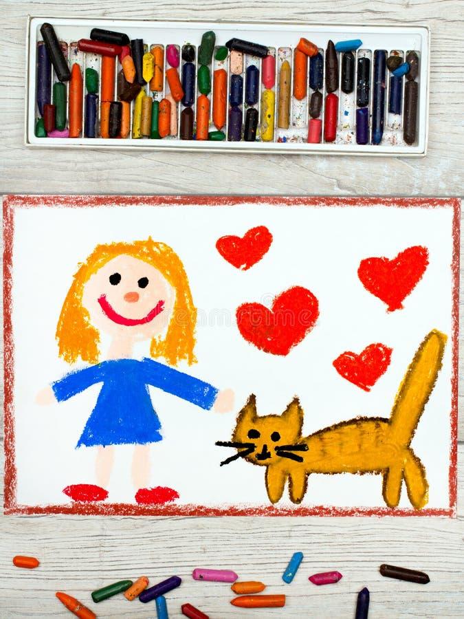 Dra: Le lilla flickan och hennes gulliga katt royaltyfria bilder