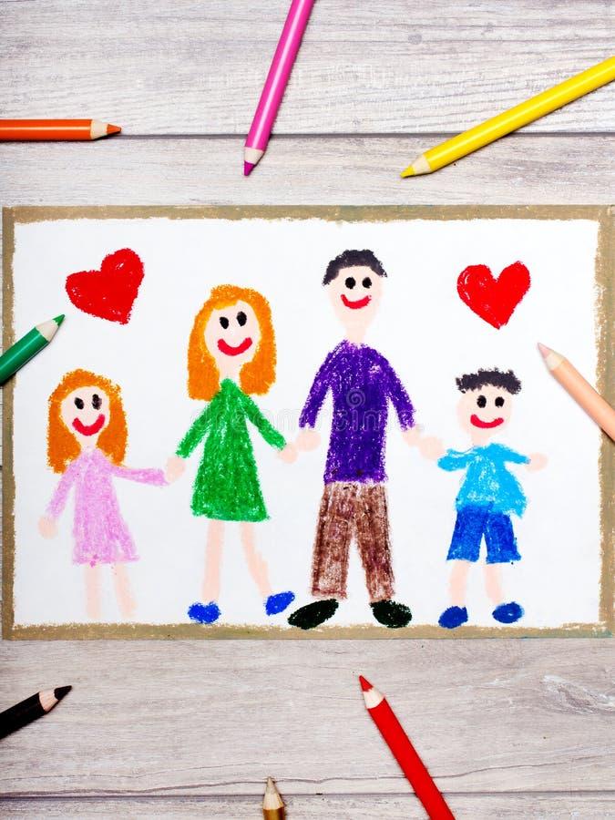Dra: Lycklig familj, moder, fader och deras barn royaltyfri illustrationer