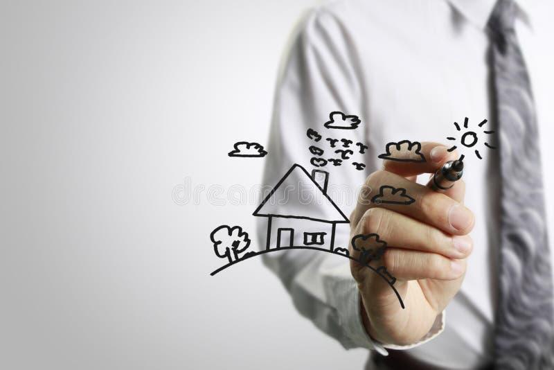 Dra modellen huset vektor illustrationer