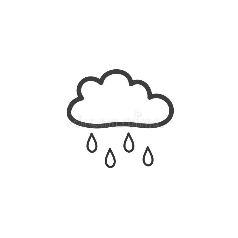 Dra moln med regn i stilen av ett klotter Ett symbol av regnigt väder Vektorteckning vid handen stock illustrationer
