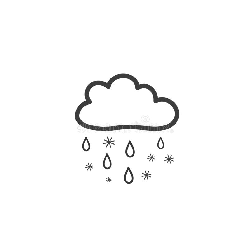 Dra molnet med regn och snö Symbol av v?der Utdragen illustration för vektorhand i klotterstil stock illustrationer