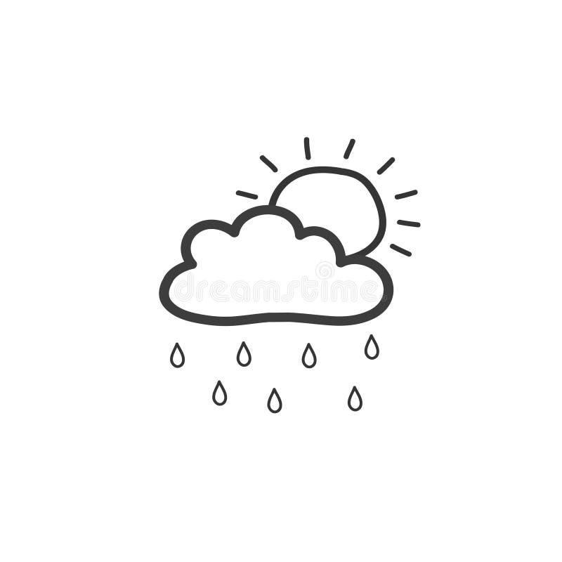 Dra molnet med regn och solen Symbol av regnigt väder Utdragen illustration för vektorhand i klotterstil stock illustrationer