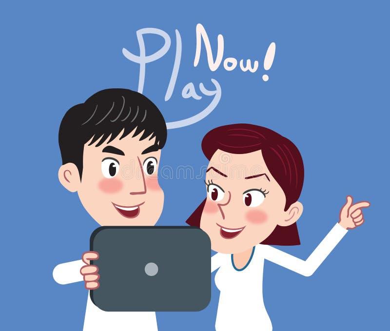 Dra plant begrepp för underhållning för teckendesign mobilt, illustration royaltyfri illustrationer