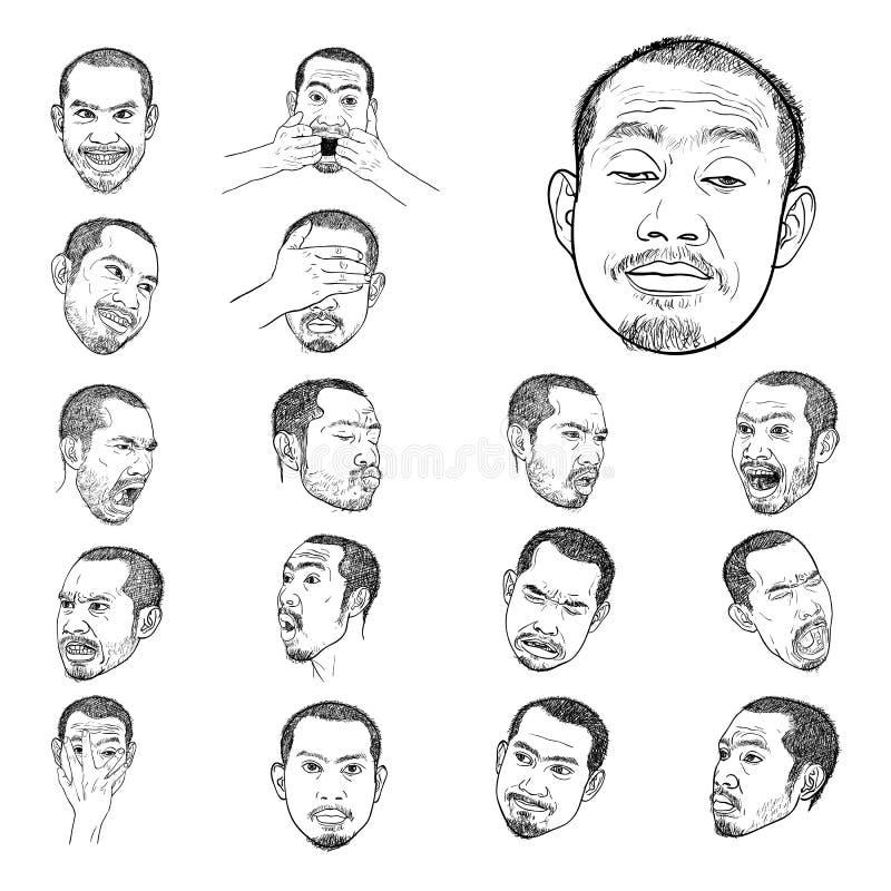 Dra som är fastställt av unga asiatiska mans stående royaltyfri illustrationer