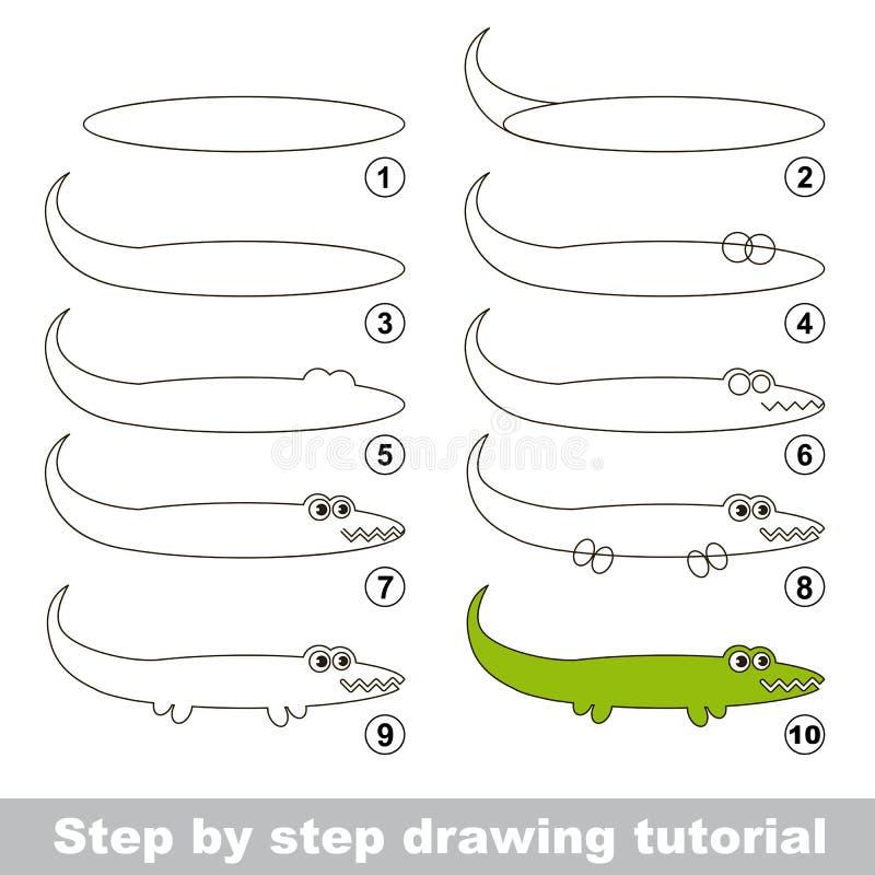 Dra som är orubbligt Hur man drar en alligator royaltyfri illustrationer