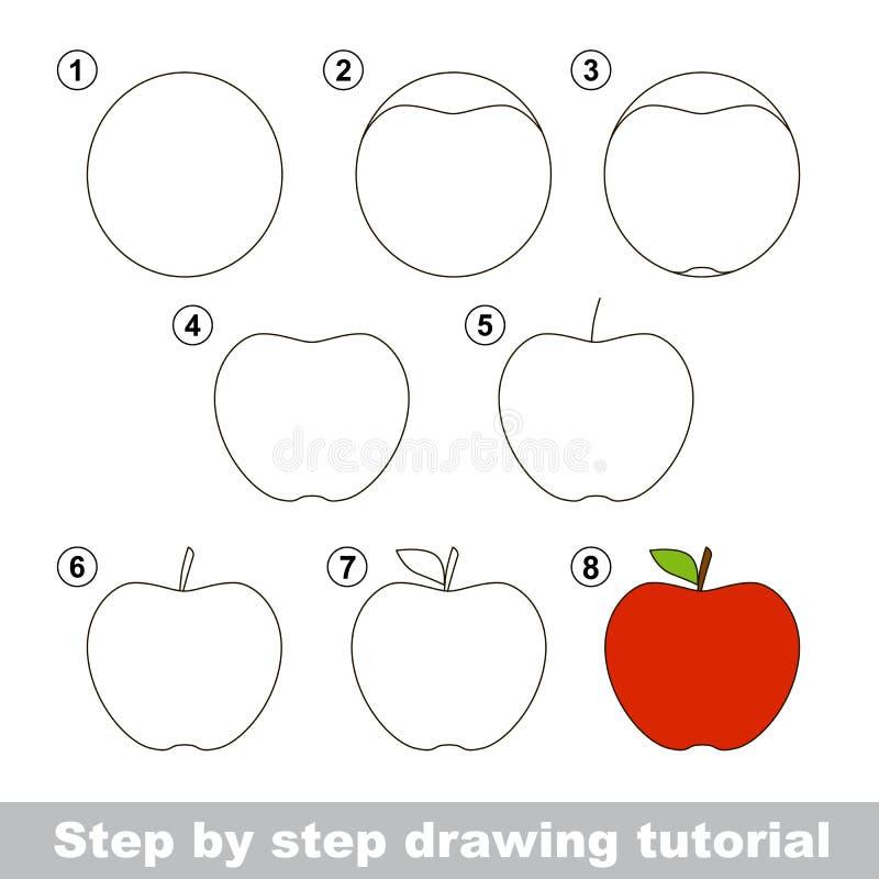 Dra som är orubbligt Hur man drar en Apple royaltyfri illustrationer
