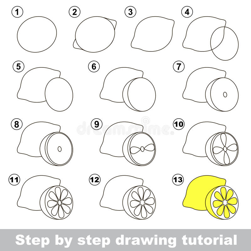 Dra som är orubbligt Hur man drar en citron stock illustrationer