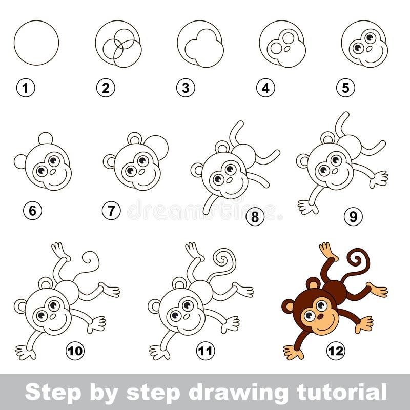 Dra som är orubbligt Hur man drar en rolig apa stock illustrationer
