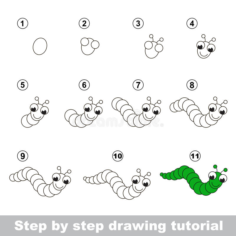 Dra som är orubbligt Hur man drar en roliga Caterpillar vektor illustrationer