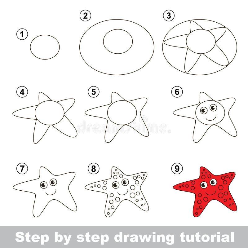 Dra som är orubbligt Hur man drar en sjöstjärna royaltyfri illustrationer