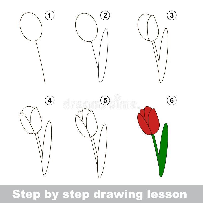 Dra som är orubbligt Hur man drar en tulpan royaltyfri illustrationer
