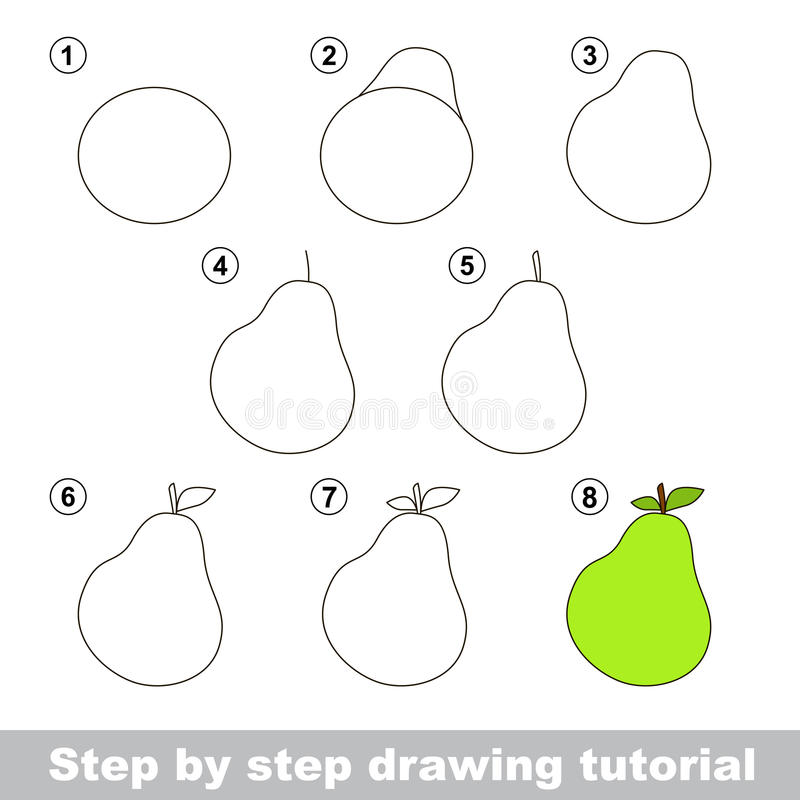 Dra som är orubbligt Hur man drar ett päron royaltyfri illustrationer