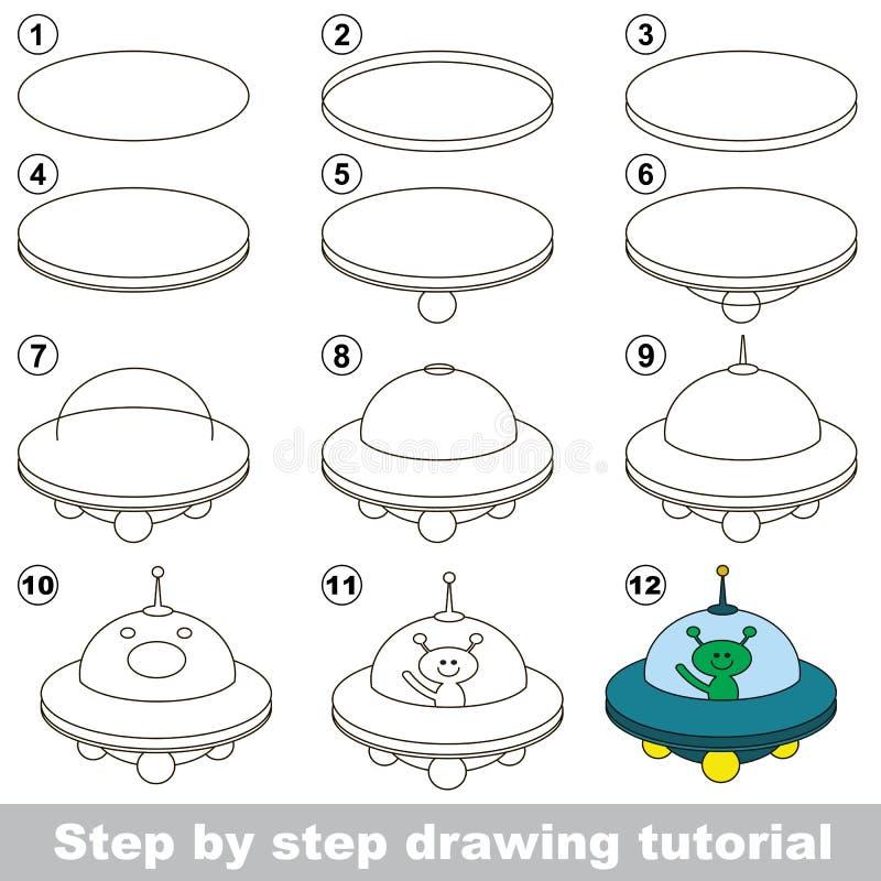 Dra som är orubbligt Lek för ufo stock illustrationer