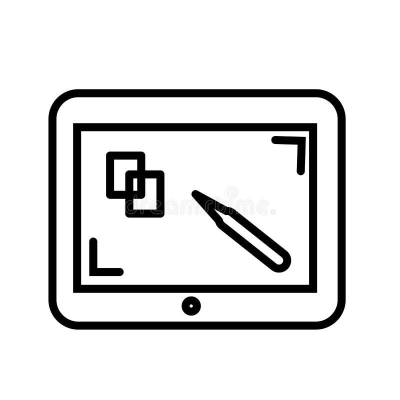 Dra tecknet och symbolet för minnestavlasymbolsvektor som isoleras på vit bakgrund som drar minnestavlalogobegrepp royaltyfri illustrationer