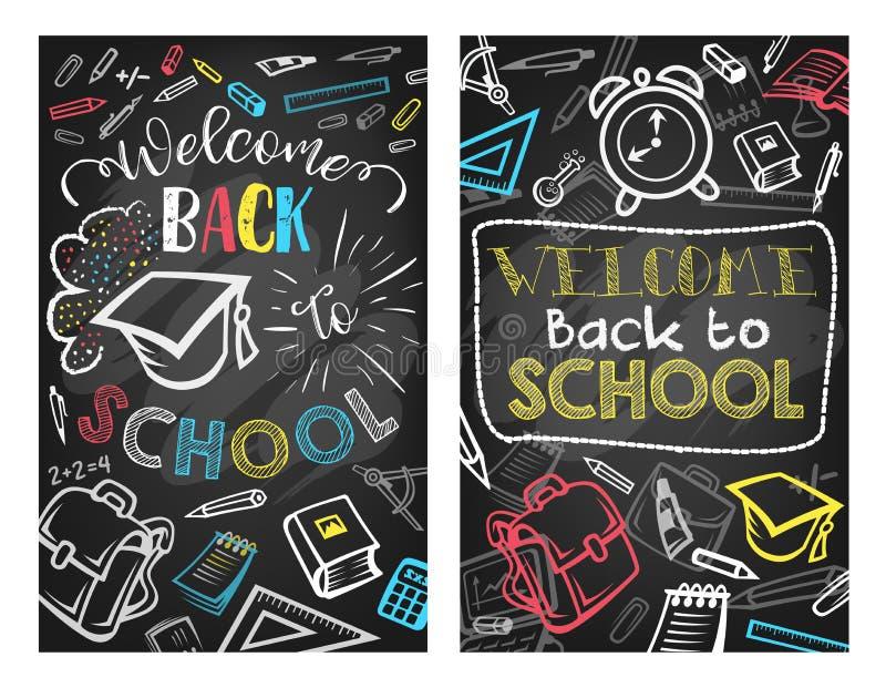 Dra tillbaka till affischen för utbildning för skolavektorsvart tavla royaltyfri illustrationer