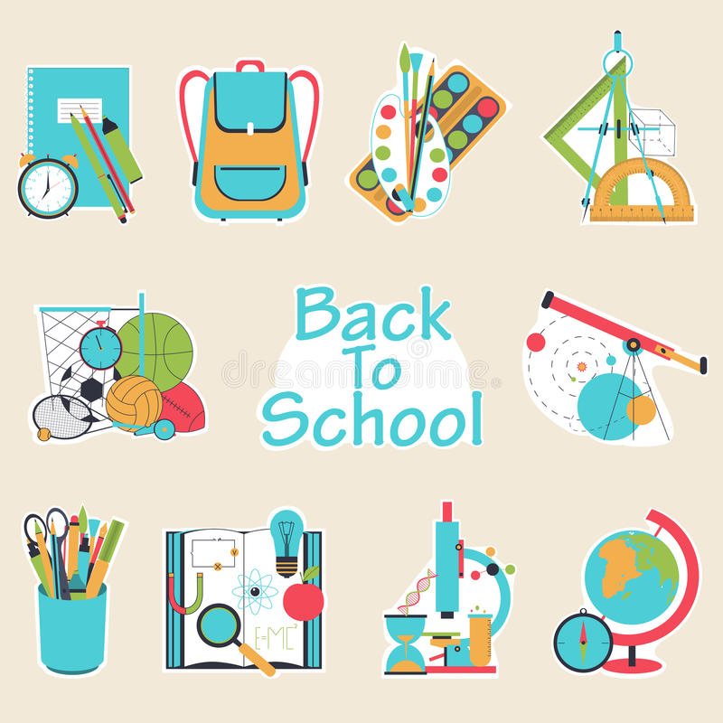 Dra tillbaka till bakgrund för illustrationen för vektorn för skolalägenhetdesignen modern med utbildningssymbolsuppsättningen stock illustrationer