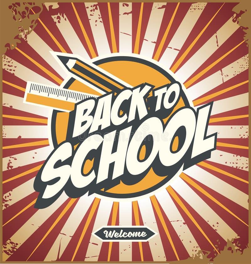 Dra tillbaka till den befordrings- affischdesignen för skolan stock illustrationer