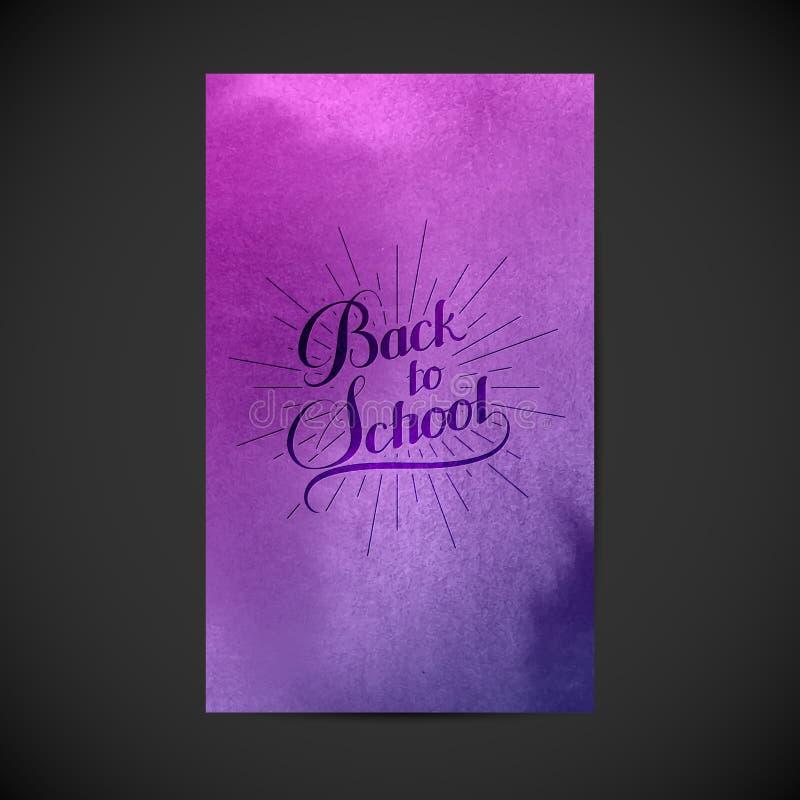 Dra tillbaka till den retro etiketten för skolan på vattenfärgbakgrund vektor illustrationer