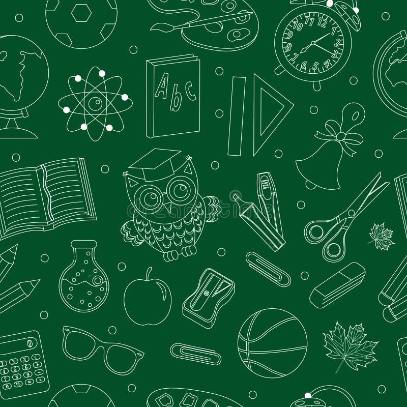 Dra tillbaka till den sömlösa modellen för skolan, räcka teckningen, klotterstil Ändlös bakgrund för brevpapper Utbildningslinje  stock illustrationer