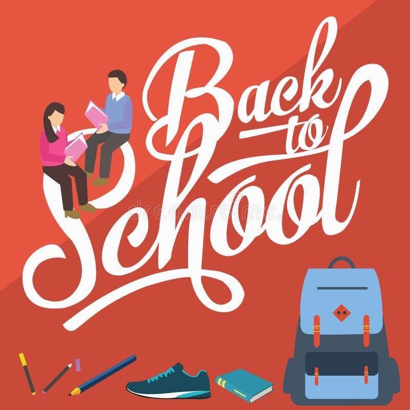 Dra tillbaka till högskolestudenter för blyertspennan för skolavektorillustrationen läseböcker vektor illustrationer