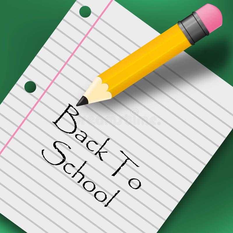 Dra tillbaka till idérik bakgrund för skolan med blyertspennan royaltyfri illustrationer