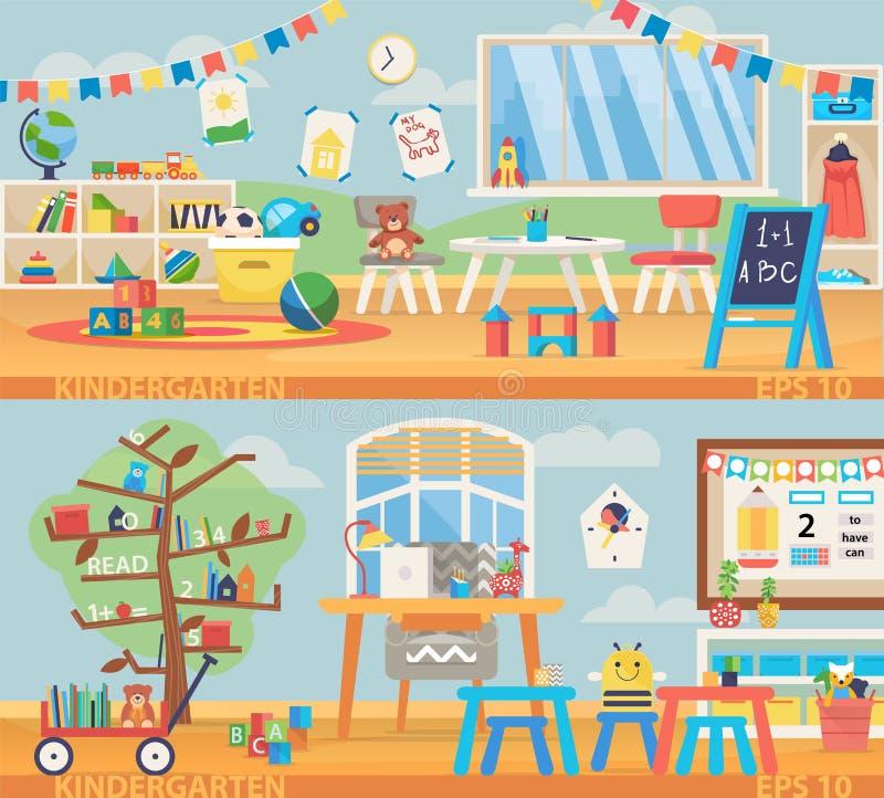 Dra tillbaka till illustrationen för skolabanret Dagisutbildningsinre Förskole- klassrum med skrivbordet, stolar och leksaker royaltyfri illustrationer