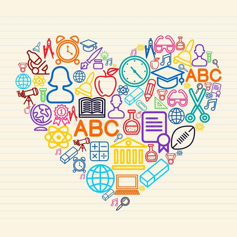 Dra tillbaka till illustrationen för skolaförälskelsebegreppet stock illustrationer