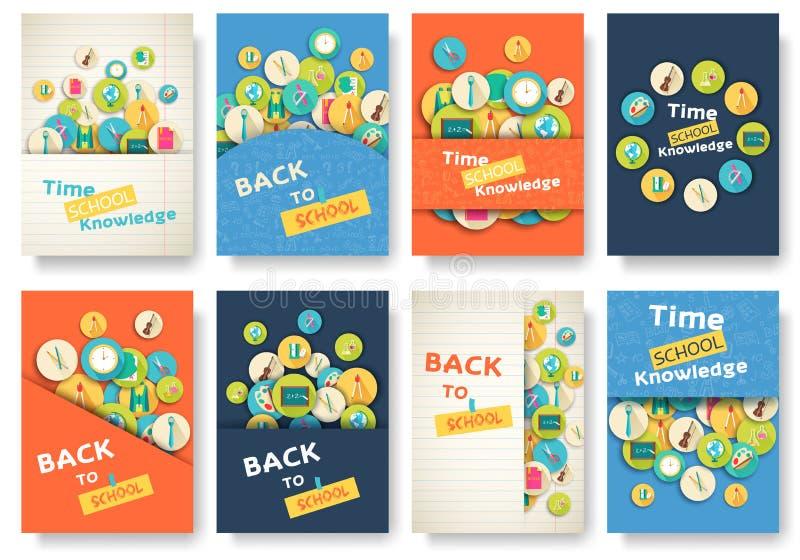 Dra tillbaka till informationssidor om skolan uppsättningen Utbildningsmall av flyear, tidskrifter, affischer, bokomslag, baner stock illustrationer