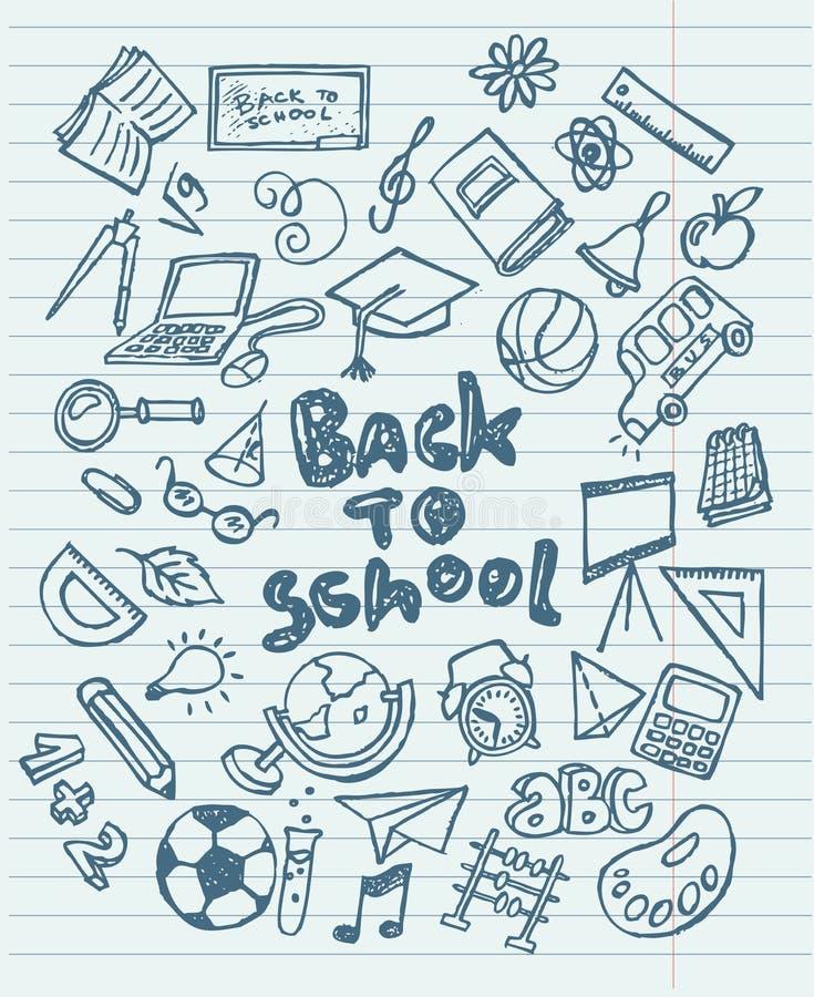 Dra tillbaka till knapphändiga klotter för skolan royaltyfri illustrationer