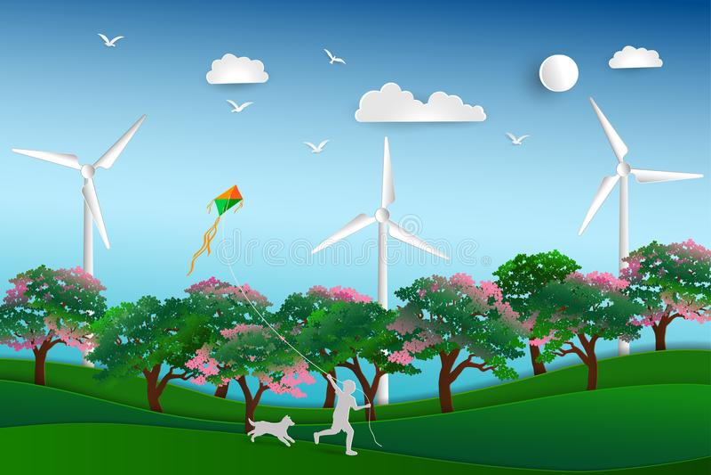 Dra tillbaka till naturen och spara miljöbegreppet, det lyckliga barnet som spelar draken i ängen med hunden, pappers- konstdesig vektor illustrationer