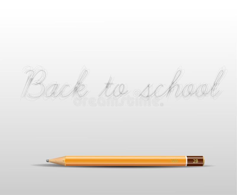 Dra tillbaka till skolaaffischen med en blyertspenna och göra mellanslag för ditt innehåll royaltyfri illustrationer