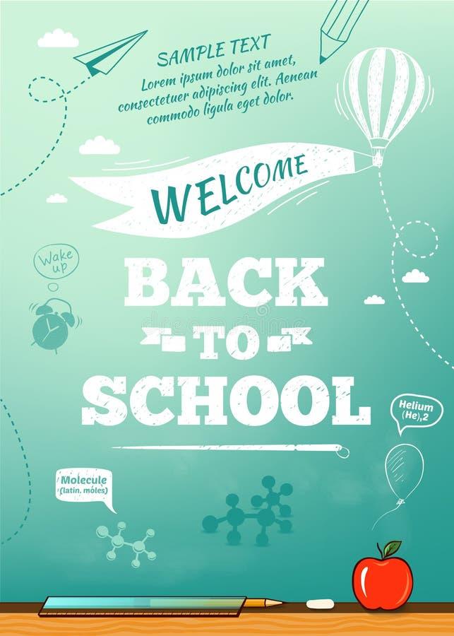 Dra tillbaka till skolaaffischen, utbildningsbakgrund stock illustrationer