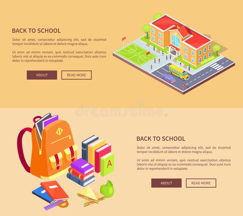 Dra tillbaka till skolaaffischer med byggnad och tillförsel vektor illustrationer