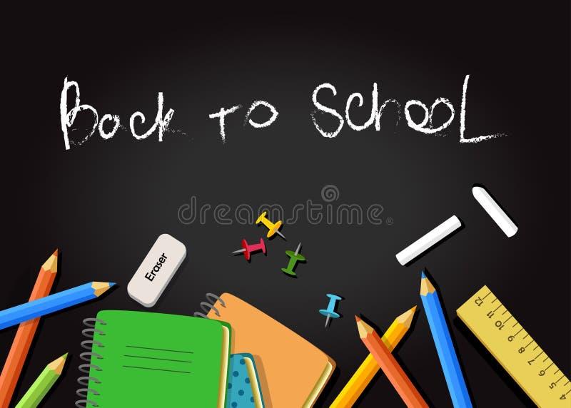 Dra tillbaka till skolabakgrund med skolautrustning arkivfoto