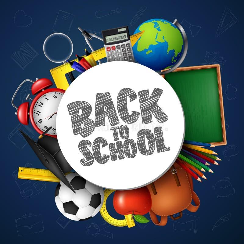 Dra tillbaka till skolabanret med skolatillförsel och klotter på blå svart tavlabakgrund stock illustrationer