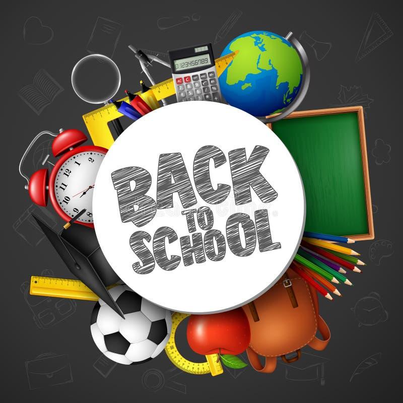 Dra tillbaka till skolabanret med skolatillförsel och klotter på svart tavlabakgrund vektor illustrationer