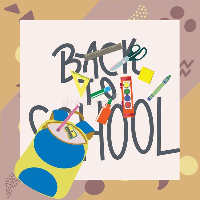 Dra tillbaka till skolabegreppet, l?genhetdesign Utbildningstillförsel med ryggsäckbakgrund stock illustrationer