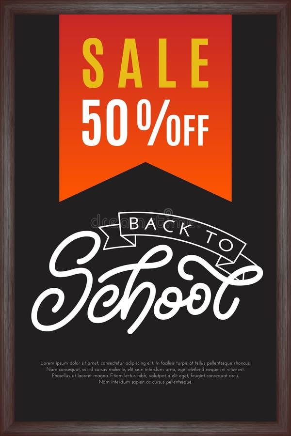 Dra tillbaka till skolabokstäver med försäljning på svart tavlabakgrund Tem stock illustrationer