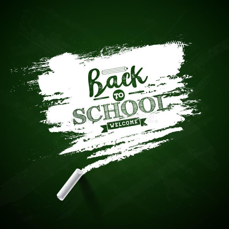 Dra tillbaka till skoladesignen med grön svart tavla- och typografibokstäver på gul bakgrund Vektorillustration för vektor illustrationer