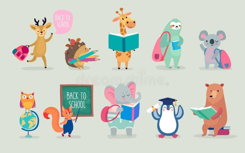 Dra tillbaka till skoladjur handen drog stil, utbildningstema gulliga tecken Björn, sengångare, pingvin, elefant och andra royaltyfri illustrationer