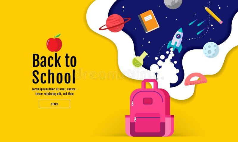 Dra tillbaka till skolaförsäljningsbanret, affischen, den färgrika lägenhetdesignen, vektor vektor illustrationer