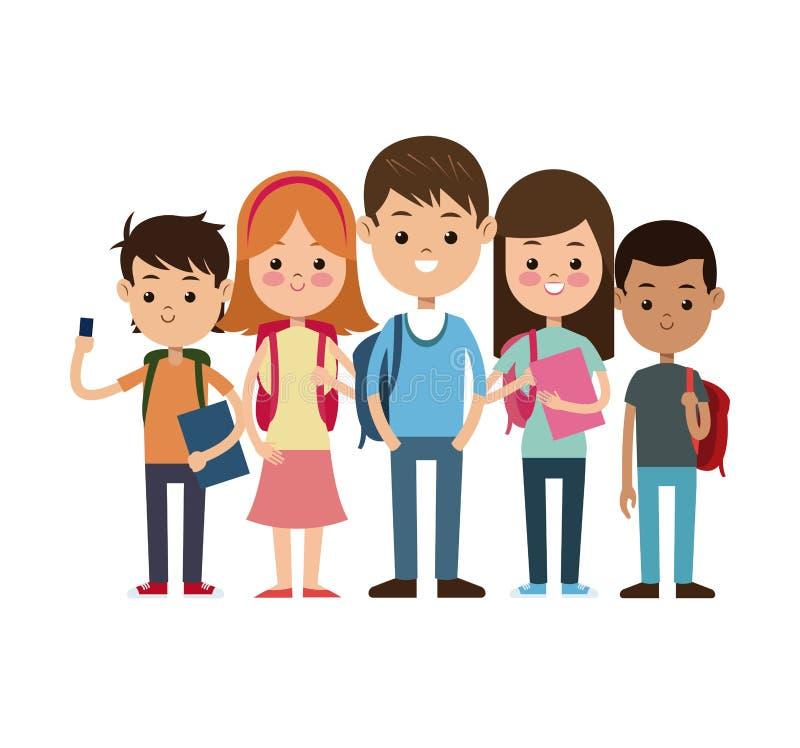 Dra tillbaka till skolagruppstudenter klara studien royaltyfri illustrationer