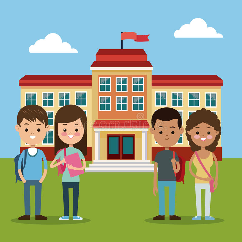 Dra tillbaka till skolagruppstudenter pojke- och flickaskolabyggnad vektor illustrationer