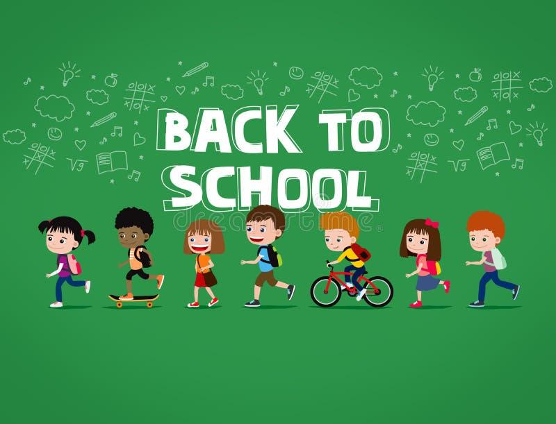 Dra tillbaka till skolaillustrationen: grupp av lyckliga tecknad filmbarn som går med ryggsäckar vektor illustrationer