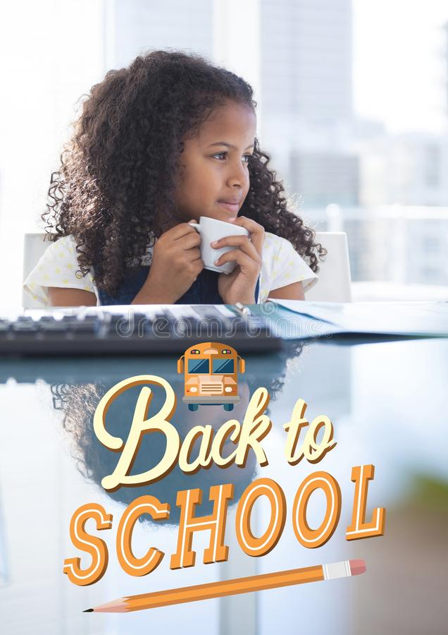 Dra tillbaka till skolaillustrationen mot kontorsungeflickan som dricker kaffebakgrund stock illustrationer