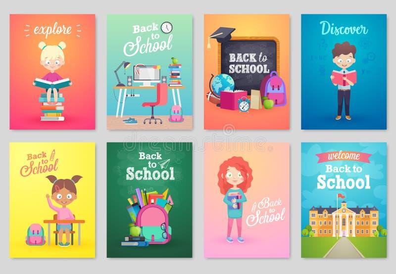 Dra tillbaka till skolakortuppsättningen, skolaungar, svarta tavlor, utrustning vektor illustrationer