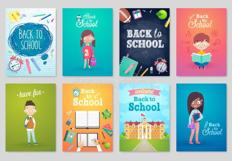 Dra tillbaka till skolakortuppsättningen, skolaungar, svarta tavlor, utrustning stock illustrationer