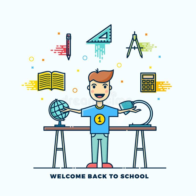 Dra tillbaka till skolalinjen illustration för stillägenhetvektor Stationära symboler Pojkeanseende på skrivbordet med lampan och vektor illustrationer